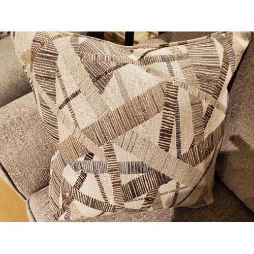 Queen Size Sofa Sleeper in Anders Dove Fabric with Fine Line Industrial Pillows