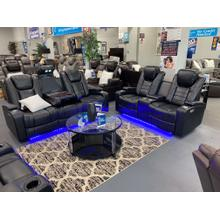 PFC Furniture U1869 Black Double Power Motion Sofa & Loveseat with LED Lights