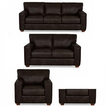 Sydney Java All Leather Sofa, Loveseat, Chair & Ottoman