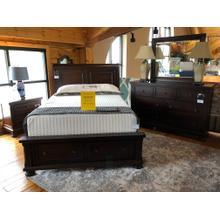QUEEN SLEIGH STORAGE BED, DRESSER, MIRROR & NIGHT STAND (DOES NOT INCLUDE MATTRESS)