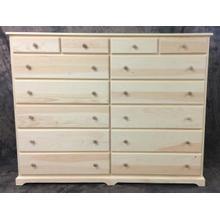 "Maine Made 14 Drawer Dresser 68""W x 53""H x 18"" D Pine Unfinished"