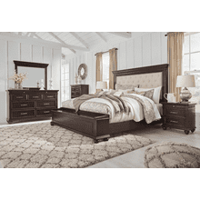 Brynhurst - Dark Brown - 7 Pc. - Dresser, Mirror, Chest, Nightstand & Queen Upholstered Bed with Footboard Storage