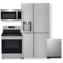 See Details - 27 cu. ft. Side-by-Side Refrigerator & 6.3 cu ft. Smart Wi-Fi Enabled Electric Range- 4 Piece Package