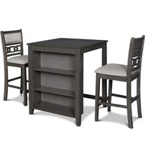 Gia Counter Table with Two Chairs and Storage Shelf, Gray