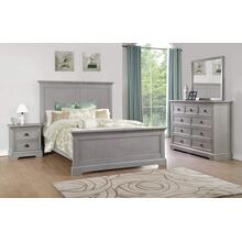 Panel King Bed, Grey