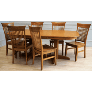 Laminate Top Double Pedestal Table & Solid Oak Chair