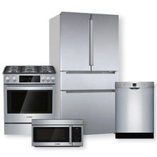 BOSCH 36'' French Door Bottom Refrigerator & Gas Slide-In Range Package