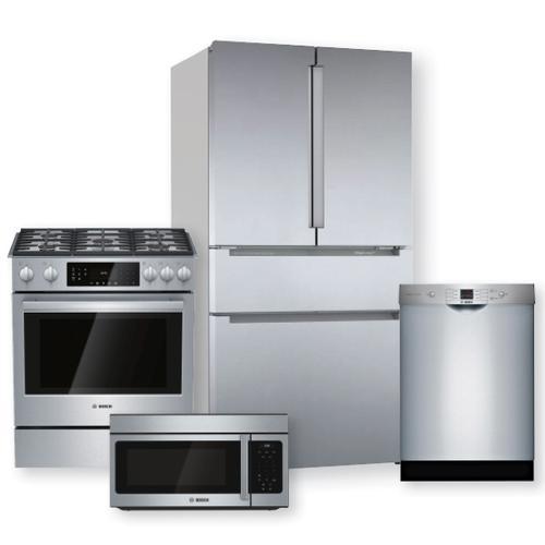 BOSCH 36'' French Door Bottom Refrigerator & Gas Slide-In Range Package