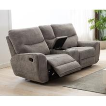 LIFESTYLE U80033-42BPSHINX Plush Oatmeal Reclining Console Loveseat