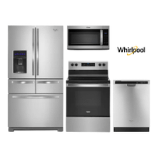 Whirlpool 4 Piece Kitchen Package with Double Drawer Refrigerator  in Stainless Steel
