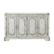 See Details - Distressed White 4- Door Credenza