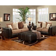 Brown Vinyl Party Ottoman