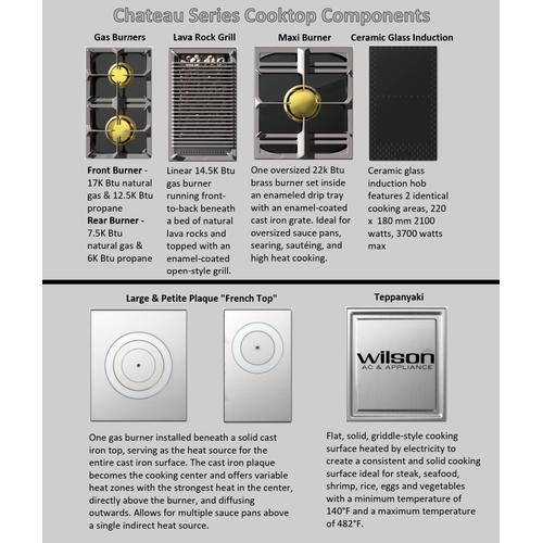 Chateau 120 (ED) - 2-Gas Burners - 1-Small French Plaque  - 2- Gas Burners - 2-Induction Burners