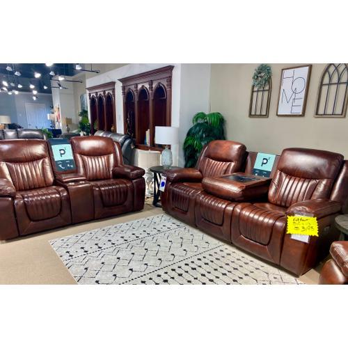 Vintage Mockernut Leather Full Power Reclining Sofa & Loveseat