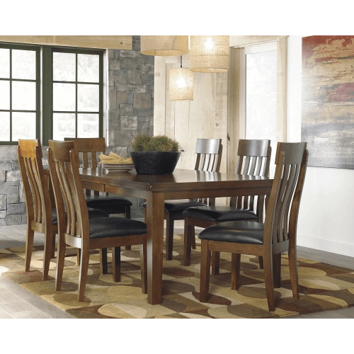 Ralene - Medium Brown - 7 Pc. - Rectangular Butterfly Extension Table & 6 Upholstered Side Chairs