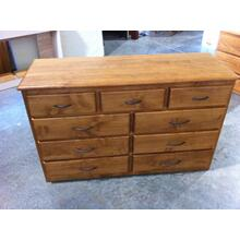 Contemporary Style 9 Drawer Dresser in Alder Wood with Stain