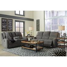 Krismen- Charcoal Power Reclining Sofa and Loveseat w/ Adjustable Headrest