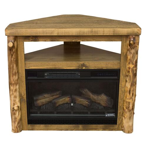 Best Craft Furniture - Aspen Rough Sawn Pine Corner Fireplace