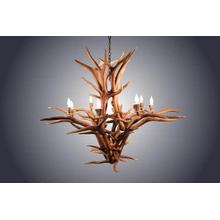 REAL 8 Light Inverted Elk Antler Chandelier