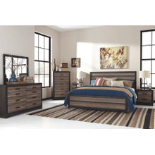 Harlinton- Warm Gray/Charcoal- Dresser, Mirror, Chest, Nightstand & King Panel Bed