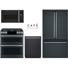 Cafe Matte Black 4 Piece with Gas Double Oven