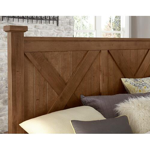 Vaughan-Bassett - King Cool Rustic X Bed w/ Storage Footboard - Amber Finish