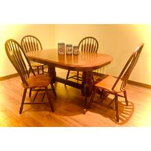 View Product - Traditional Farmhouse Double Pedestal Butterfly Leaf Table & 4 Chairs   84'/60'   (CN4284BFPED,72948,73210,73211)