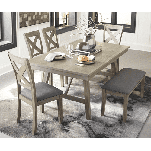 Aldwin - Gray - 6 Pc. - Rectabgular Table, 4 Upholstered Side Chairs & Upholstered Bench
