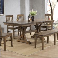 6 Piece Set (Trestle Table, 4 Chairs and Bench)