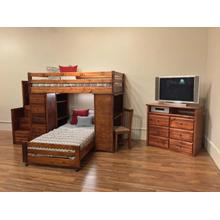 Bronco Loft Bed with Chest, Desk, Bottom Bed, Staircase Cocoa