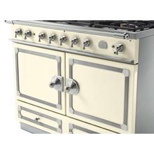 CornuFe 110 Dual Fuel Range -  Ivory with Stainless Steel and Satin Chrome Trim