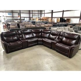 Highlander Leather Sectional with three Power Recliners with Power Headrest