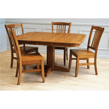 Laminate Top Pedestal Table and Solid Oak Chair
