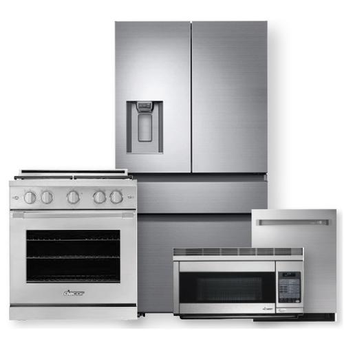 """Packages - DACOR 36"""" Counter Depth French Door Bottom Freezer & 30"""" Gas Range- 4 Piece Package"""