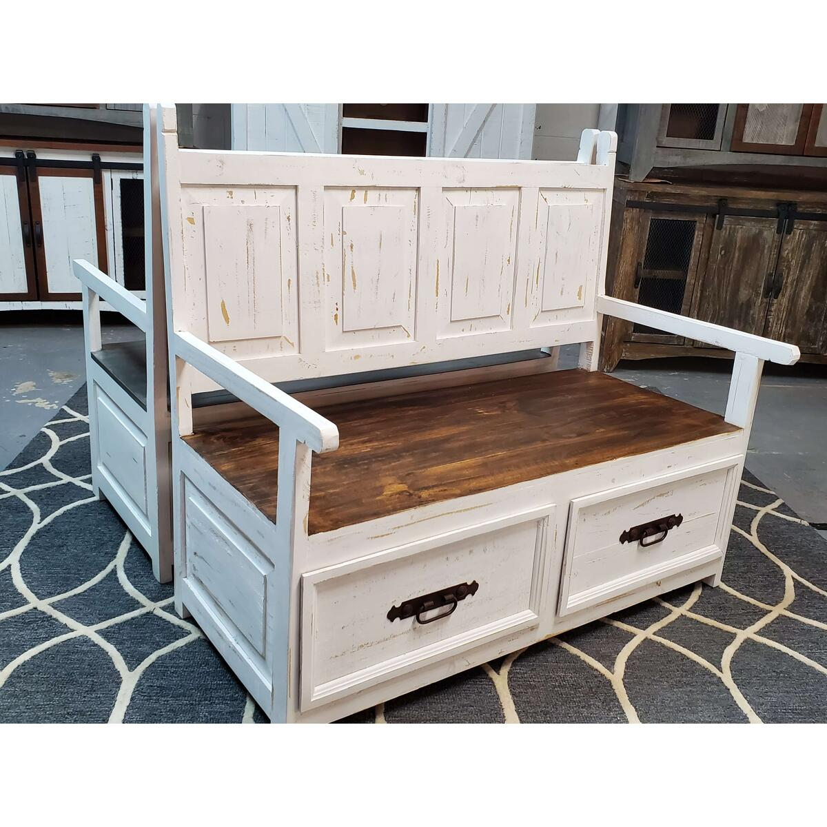 Distressed White Armed Storage Bench