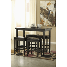 Kimonte - Dark Brown - 5 Pc. - Rectangular Counter Table & 4 Brown Barstools