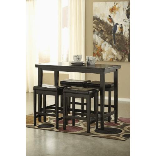 Kimonte - Dark Brown - 5 Pc. - Rectangular Counter Table & 4 Brown Barstools