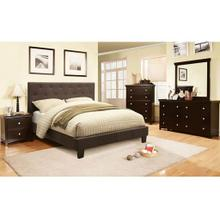 Queen Gray Tufted Linenlike Fabrid Bed only