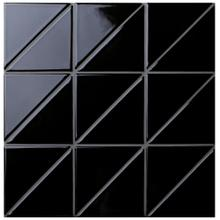 4 Linear Glossy Black Triangle Tile Pattern For Kitchen Wall Decor