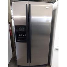 Stainless Whirlpool Side by Side Refrigerator  (This may be a Stock Photo, actual unit (s) appearance may contain cosmetic blemishes. Please call store if you would like additional pictures). This unit carries our 6 Month warranty, MANUFACTURER WARRANTY and REBATE NOT VALID with this item. ISI 37748 B