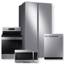 SAMSUNG 23 cu. ft. Smart Counter Depth Side-by-Side Refrigerator & 5.9 cu.ft. Freestanding Electric Range- Minor Case Imperfections