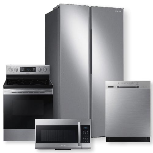 SAMSUNG 23 cu. ft. Smart Counter Depth Side-by-Side Refrigerator & 5.9 cu.ft. Freestanding Electric Range- Minor Case Imperfections