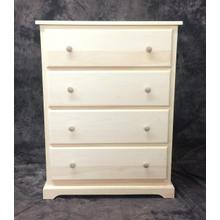 """Maine Made 4 Drawer Chest 30""""W x 39.5""""H x 18""""D Pine Unfinished"""