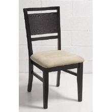 ESPRESSO LADDER BACK CHAIR WITH BEIGE MICROFIBRE CUSHION
