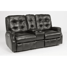 Devon Leather Reclining Console Loveseat with Nailhead Trim
