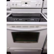 White Frigidaire Glass Top Electric Range (This is a Stock Photo, actual unit (s) appearance may contain cosmetic blemishes. Please call store if you would like actual pictures). REBATE NOT VALID with this item.  ISI 37628 B