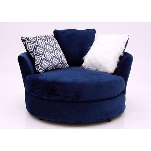 Albany Industries - ALBANY 8642-61-67-27-32 4PG  4-Piece Groovy Navy Sectional Sofa, Swivel Chair & Ottoman Group