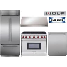 "36"" Wolf Gas Range And Sub Zero Fridge"