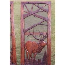 Handmade rustic wooden screen door featuring an elk and and fores theme.