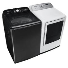SAMSUNG 5.0 cu. ft. Top Load Washer with Super Speed in Black Stainless Steel & 7.4 cu. ft. Electric Dryer with Sensor Dry in White- Open Box